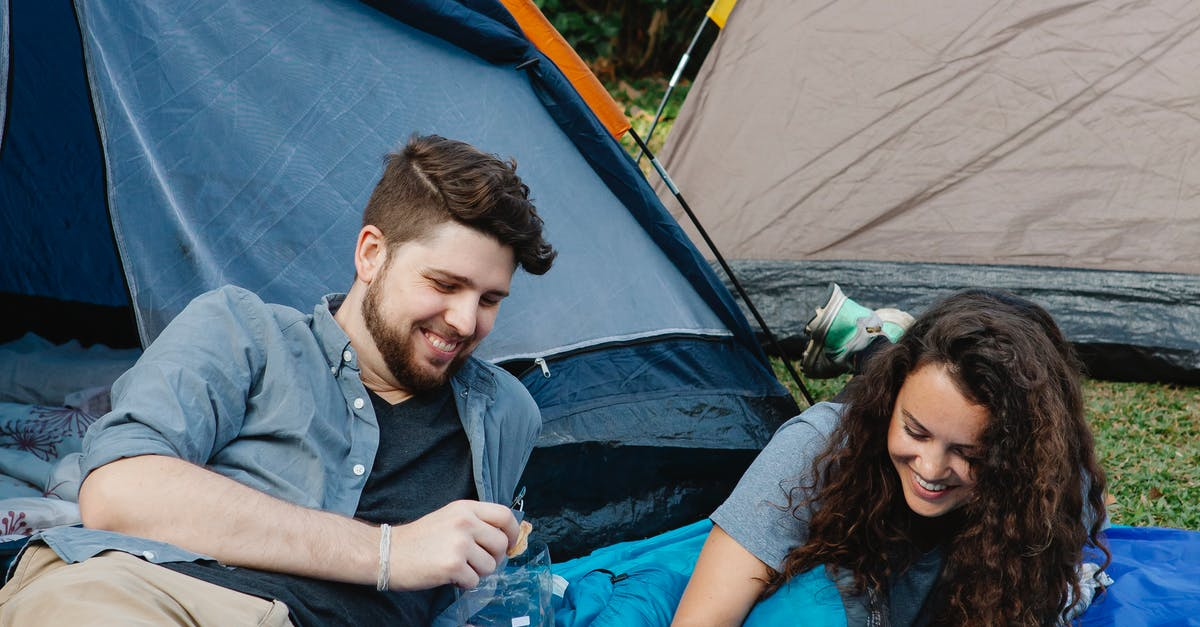 A man and a woman sitting in a tent
