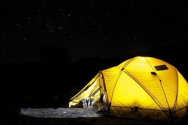 A tent in the dark
